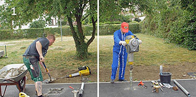 Einschlaghülse oder Gusshülse Beton Verkehrstechnik