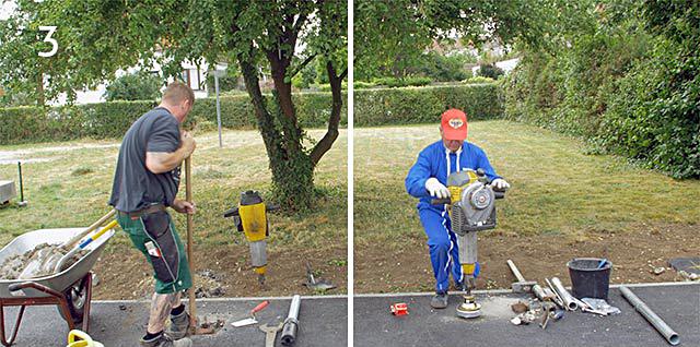 Bodenhülse einrammen oder Gusshülse betonieren